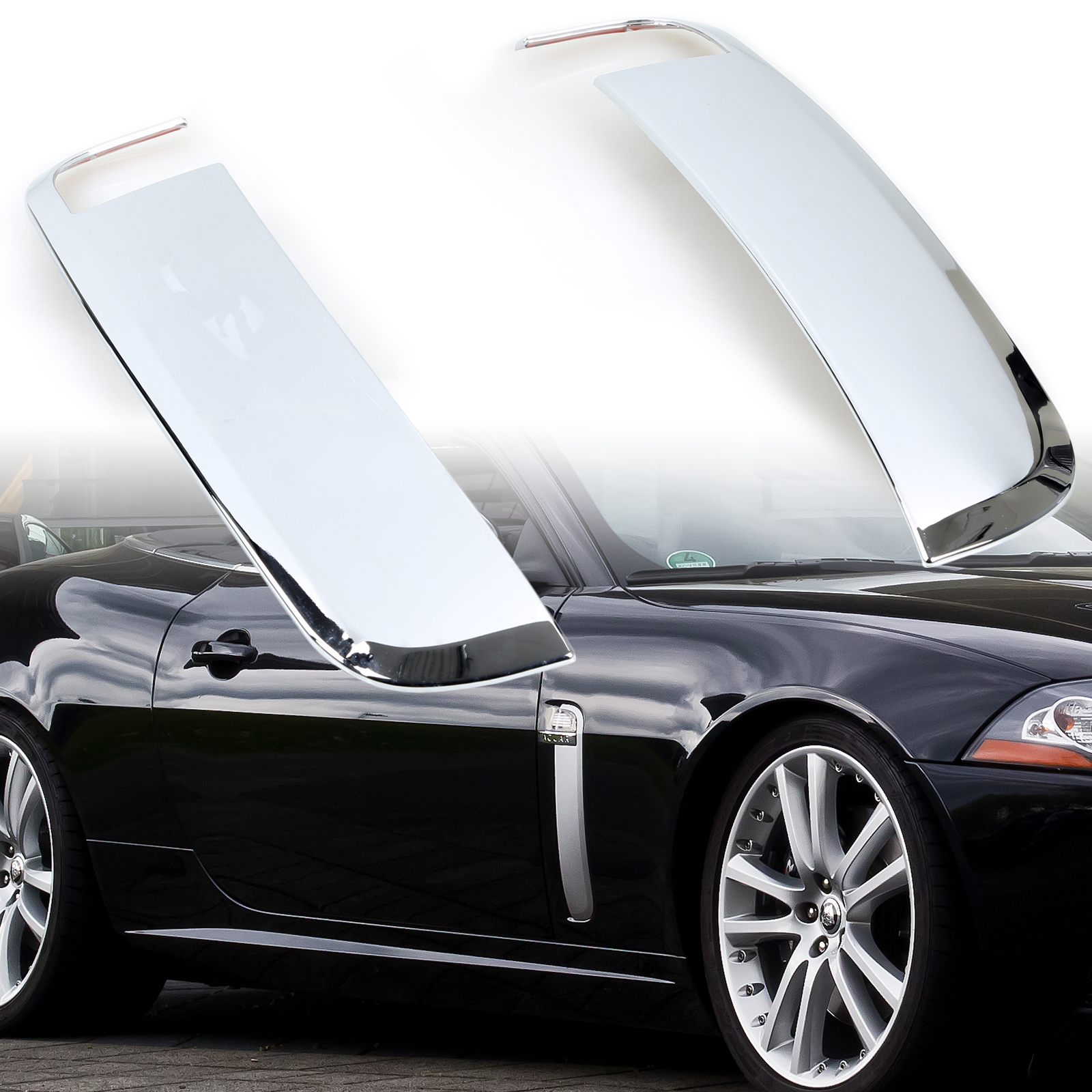 Chrome Side Fender Vent Cover Trim For Jaguar XK XKR