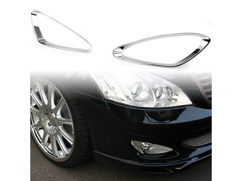 Chrome Fog Light Trim ABS For Mercedes Benz S-Class W221 Prefacelift 2005-2009