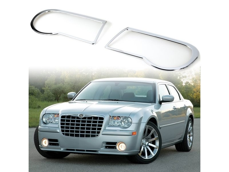 Head Light Front Lamp Bezel Cover Chrome Trim For Chrysler 300C Sedan