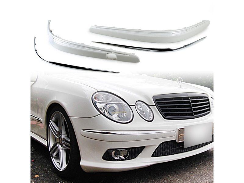 Unpainted Front Bumper Molding Stripe+Chrome Trim For Mercedes Benz W211 2003-2006