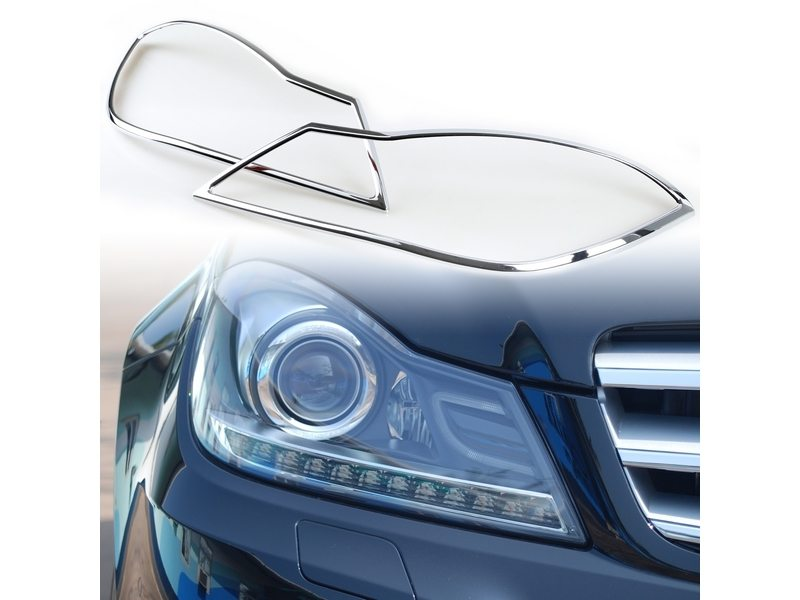 Head Light Front Lamp Bezel Cover Chrome Trim For Mercedes Benz W204 2012-2014