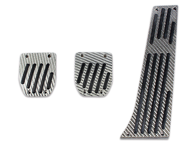Silver Carbon Fiber MT Manual Pedals For BMW E30 E36 E90 E92 E46 E88 E86 Z3 Z4 3 Pcs