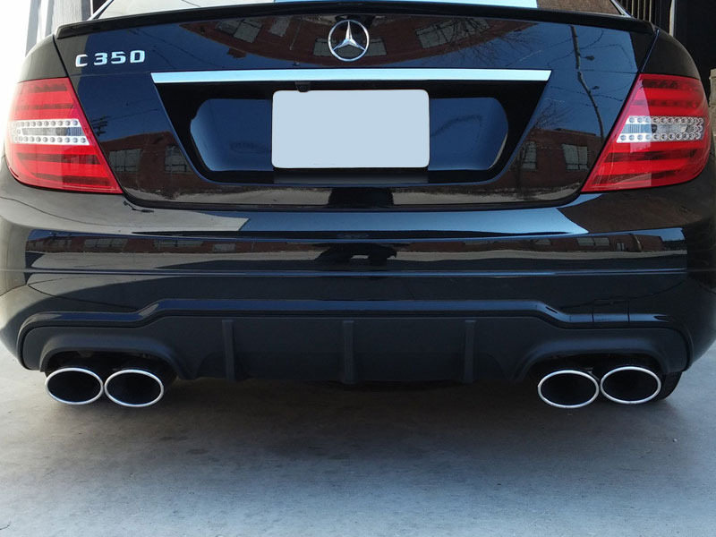 Unpainted AMG C63 Style Quad Muffler Rear Diffuser For Mercedes Benz W204 C Class