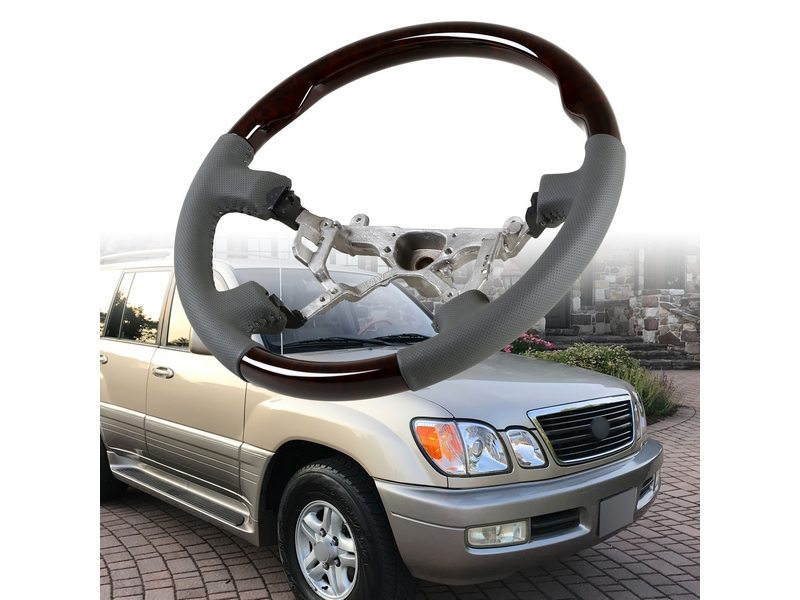 Steering Wheel Wood Grain Leather Grip For Toyota Land Cruiser 100 Lexus LX470