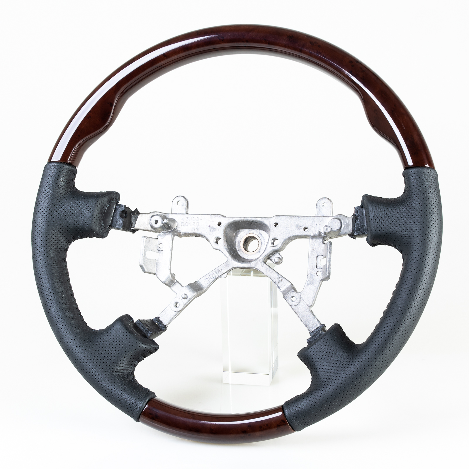 Replacement Steering Wheel Classic Wood Grain Leather Grip For Toyota Land Cruiser Lexus LX470
