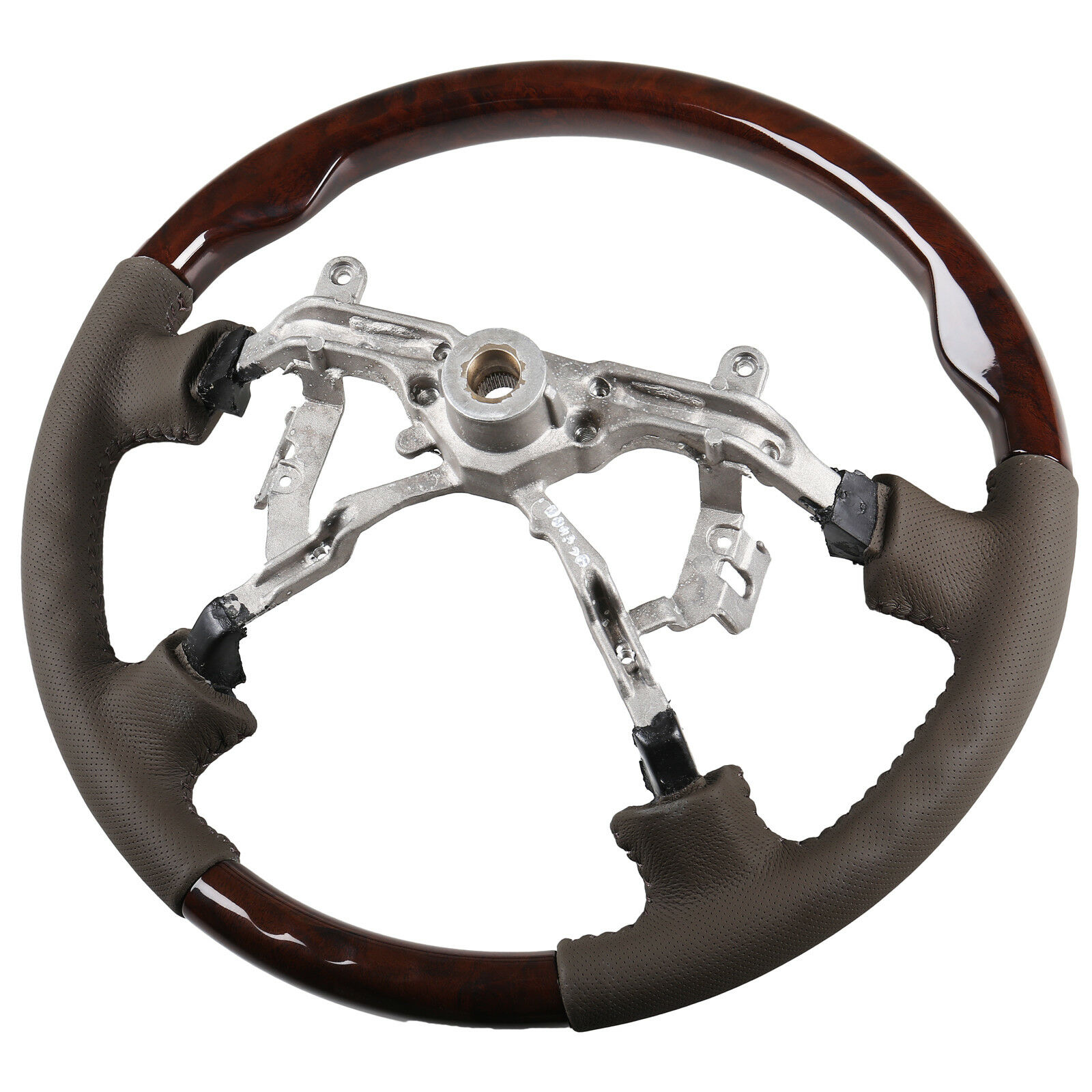 Replacement Steering Wheel Dark Wood Grain Leather Grip For Toyota Land Cruiser Lexus LX470