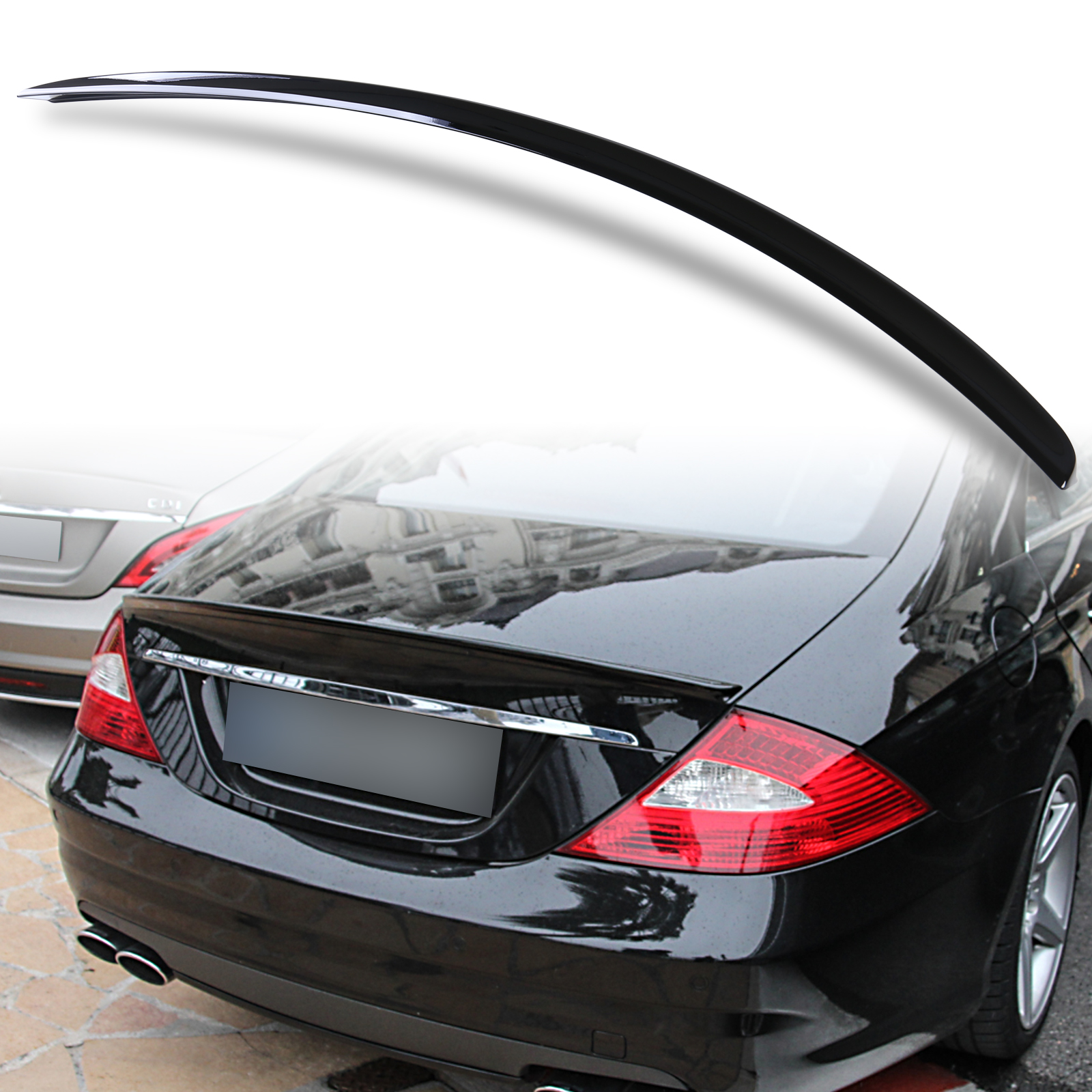 Painted ABS trunk spoiler for Mercedes Benz W219 AMG STYLE Obsidian Black 197