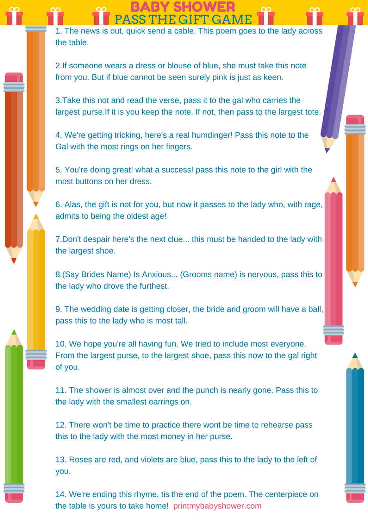 pass the gift poem baby shower game 4 50 poem baby shower game 2 on