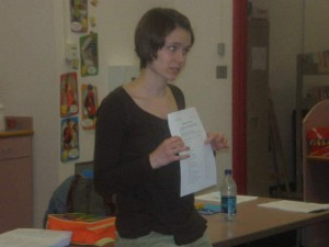 Melissa Rice goes over the week's worksheet with her students
