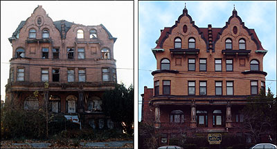 Before and after shot of renovations by the Revitalization Corp. to restore historic buildings.