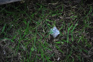 Paraphernalia in the grass on 33rd and Diamond field.