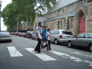 Students walking home from school