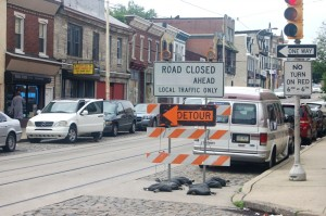 All main streets along Germantown Avenue are marked with these warnings of costruction.