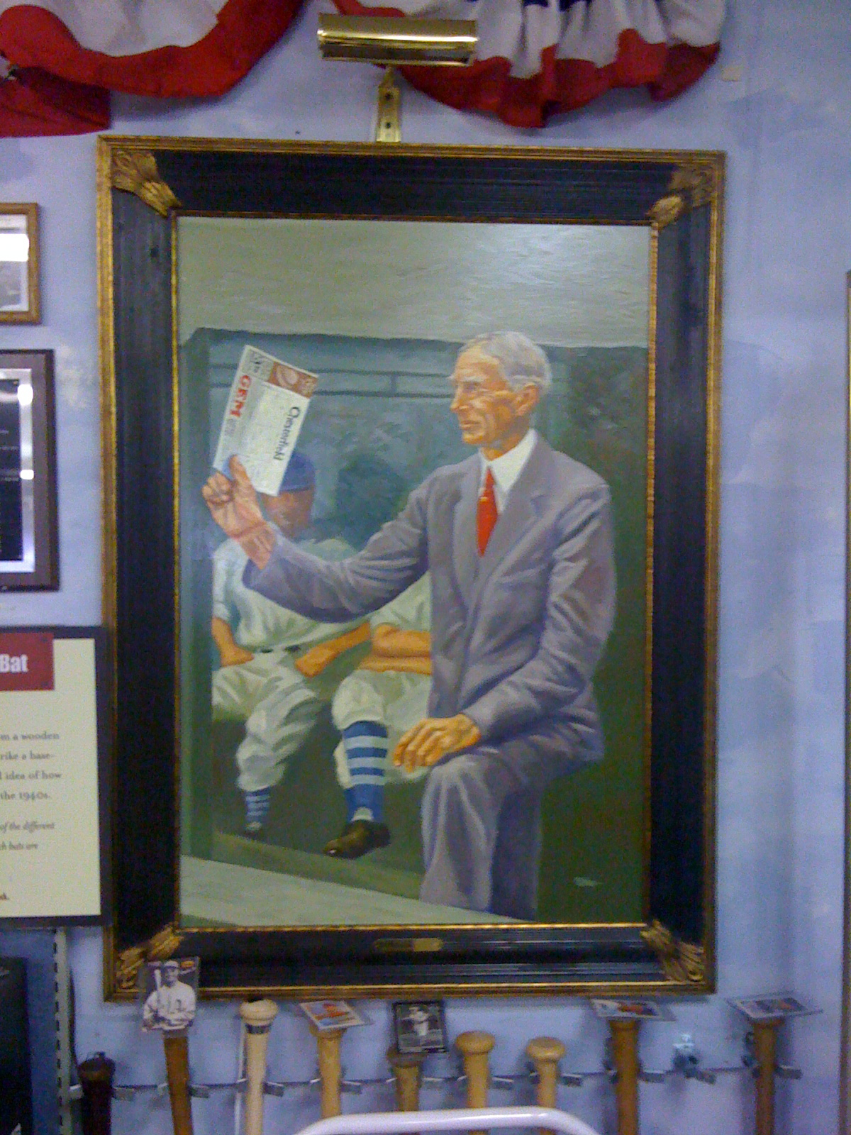 Painting of Connie Mack, Manager and Owner of the Philadelphia Athletics for over 50 years.