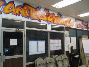 Graffiti art on wall of YUC offices