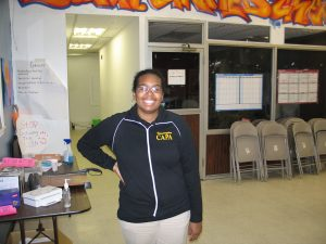 Youth Leader Karla Elis Mota in the YUC offices
