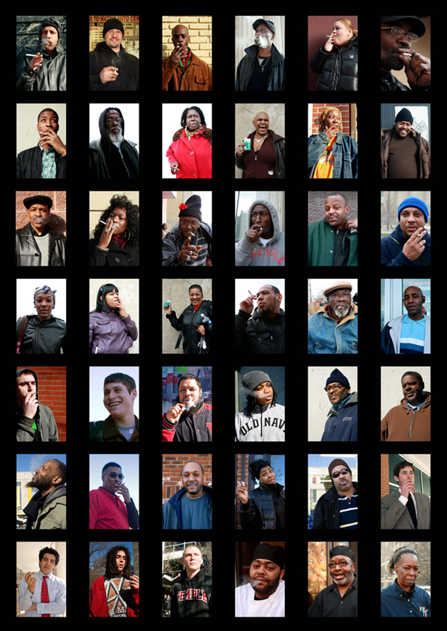A matrix of 32 of the 1,000 Philadelphia Smokers. Photography by Hillary Petrozziello.