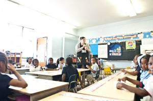 Laura Alminde played a nutrition game with the students.