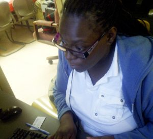 Evettia Harden took advantage of the computer access available thanks to the YES program.