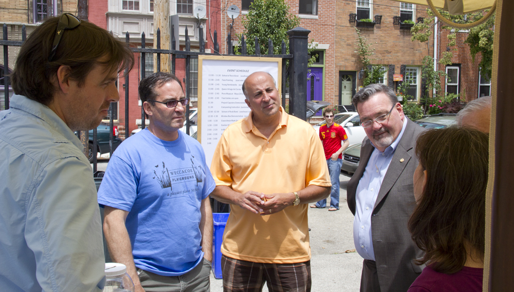QVNA President Jeff Hornstein, Councilman Mark Squilla and Rep. Michael O'Brien talk with Architect Jason Austin about the proposed changes to the Weccacoe Playground building.