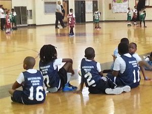 Players watched their teammates on the court.