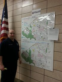 Officer Frank Gramlich explained the 19th Police District crime map.