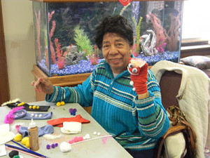 Angela DuBose, 84, demonstrated her artistic abilities on Wednesday.