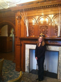 Betty Ann Guckin stood next to one of the ornate fireplaces in the mansion