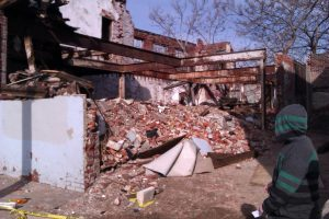 This is all that remains of the old auto shop building on E. Letterly St.