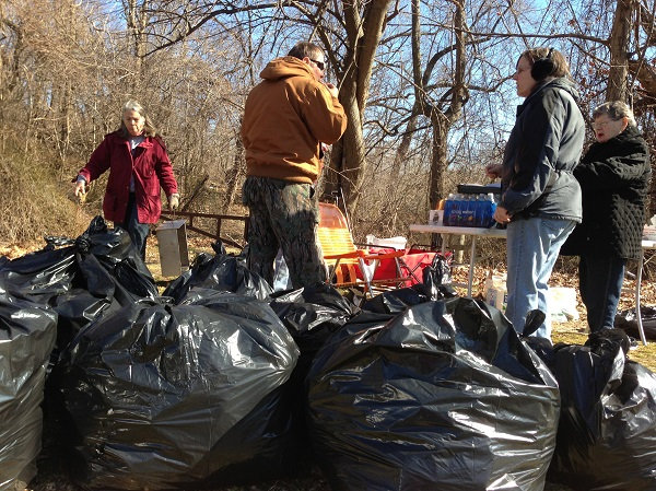 Members of the Friends of Pennypack collected 78 bags of trash in clean up behind Nazareth Hospital.