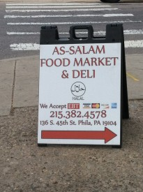 Muslim food market and deli sign on 45th St.
