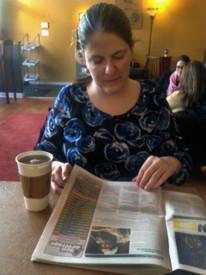 Fairmount resident Kelly Flanigan enjoyed tea at Mugshots Coffeehouse.