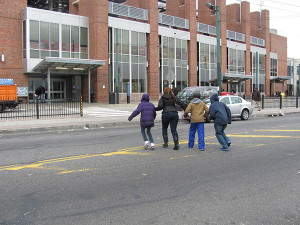 People tried to get over to the Frankford Transportation Center where there is no crosswalk.