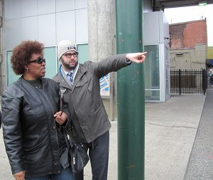 Ian Litwin showed Frankford resident Doris Booker some of the changes the City Planning Commission want to make.