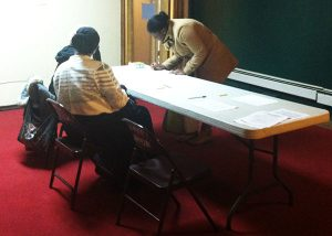 Residents signed in upon entering the HMC^2 meeting held at Sweet Union Baptist Church at 1536 N. 59 St.