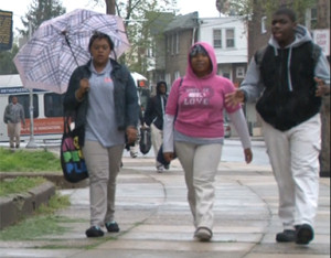 Overbrook High School students walked to their morning classes.