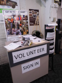 Volunteers first sign in upon arriving and then are given a task in the store.