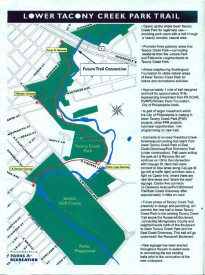 Map of the new Lower Tacony Creek Park Trail and future additions that will be made courtesy of Philadelphia Parks & Recreation.