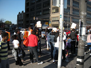 Parents protested the closing of M.H Stanton on Broad Street.