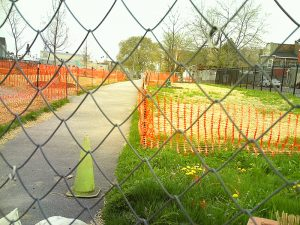 Residents and volunteers hope the new dog park will be ready soon.