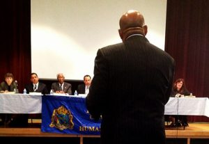 Mayor Nutter addressed the Philadelphia Commission on Human Relations at Girard College on Thursday.