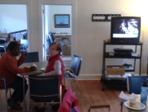 "Senior residents came out to watch ""Moneyball"" and enjoy homemade soup."