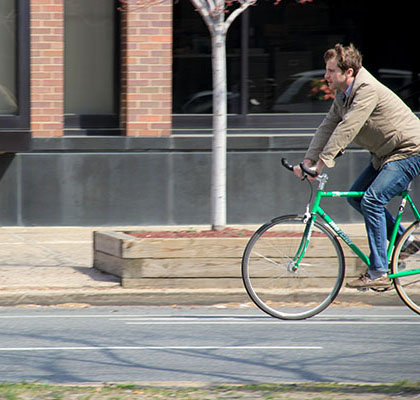 A bicyclist used the bike lane on Spring Garden Street.