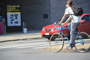 A bicyclist rode to Community College of Philadelphia on Spring Garden Street.