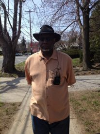 Walter Martin, block captain, standing in front of his home on the 5400 block of Wynnefield Avenue.