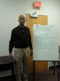 David Robinson, a post-release facilitator stood in front of the classroom where he lead a job training course.