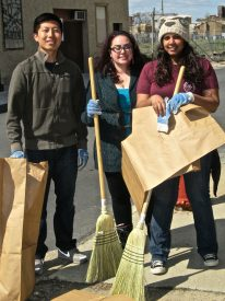 Goff and her roomates walked around to different blocks picking up and sweeping up debris.