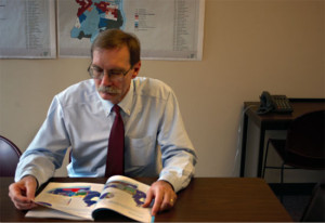 The executive director of the Philadelphia City Planning Commission Gary Jastrzab read over  a proposed plan.