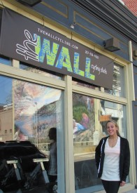 Owner Juliet Sabella stood in front of her cycling studio in Manayunk before classes began.