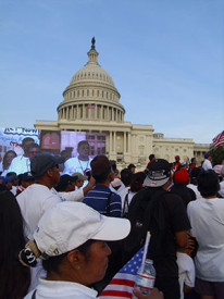 Thousands of protestors rallied for a pro-immigration reform bill in front of The United States Capitol.